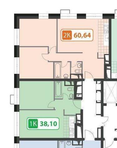 Объединение соседних квартир. Итого 100 метров.