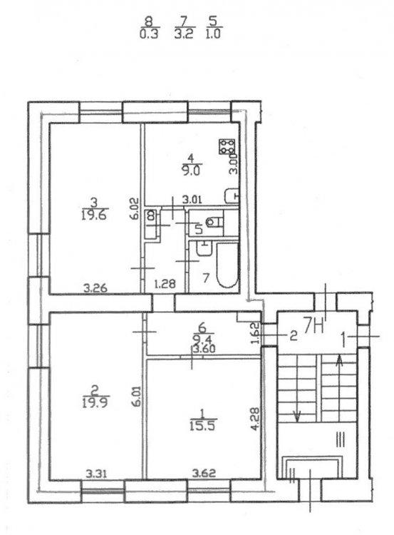 Трешка 78 метров 1й этаж.-2