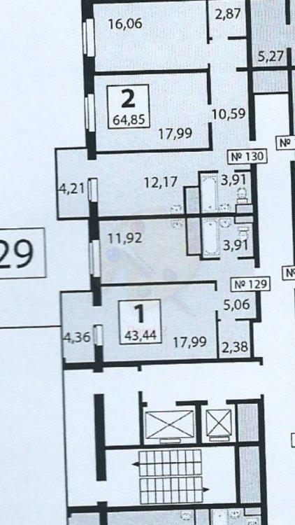 Планировка 44 кв.м ( 1 ком партаменты)