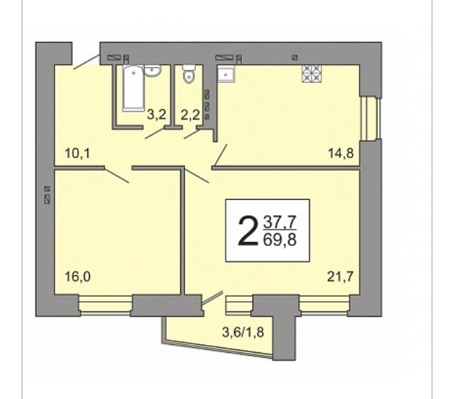 Перепланировка 2-шки 69,8 кв.м