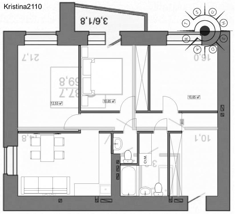 Перепланировка 2-шки 69,8 кв.м-2