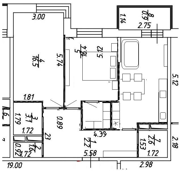 Двухкомнатная квартира 68 кв., для семьи с 1-2 детьми.