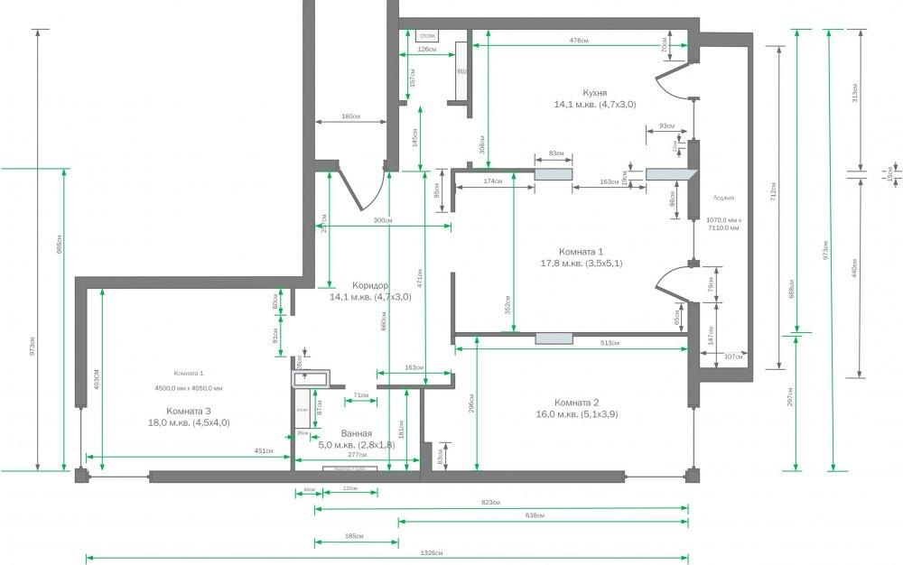 Прошу критики / мнений по идее планировке квартиры 95 м.кв.-2