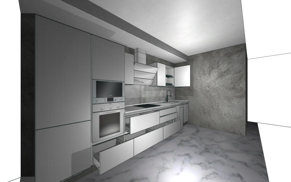 Одинаковая плитка на полу на кухне, в санузлах и в коридоре-2