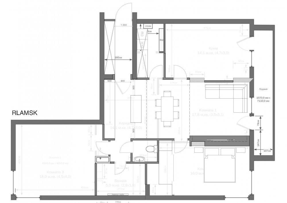 Прошу критики / мнений по идее планировке квартиры 95 м.кв.