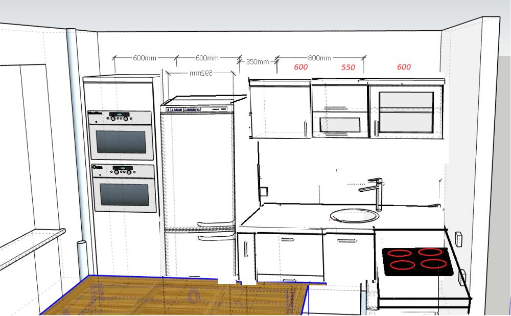 Расстановка кухонного гарнитура