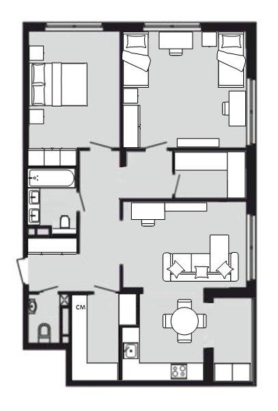 Трёшка 89 кв. м. с кухней гостиной-3