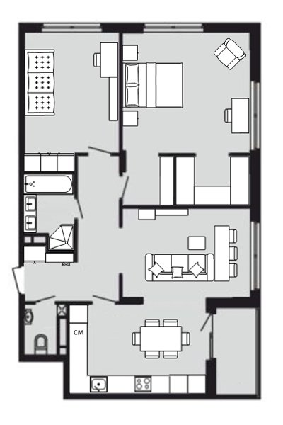 Трёшка 89 кв. м. с кухней гостиной-2