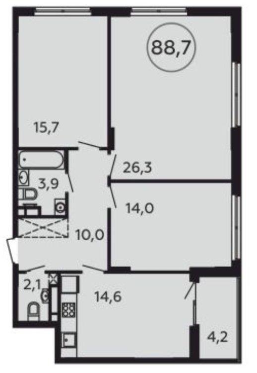 Трёшка 89 кв. м. с кухней гостиной