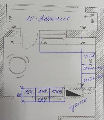 Расстановка мебели на кухне сложной геометрии
