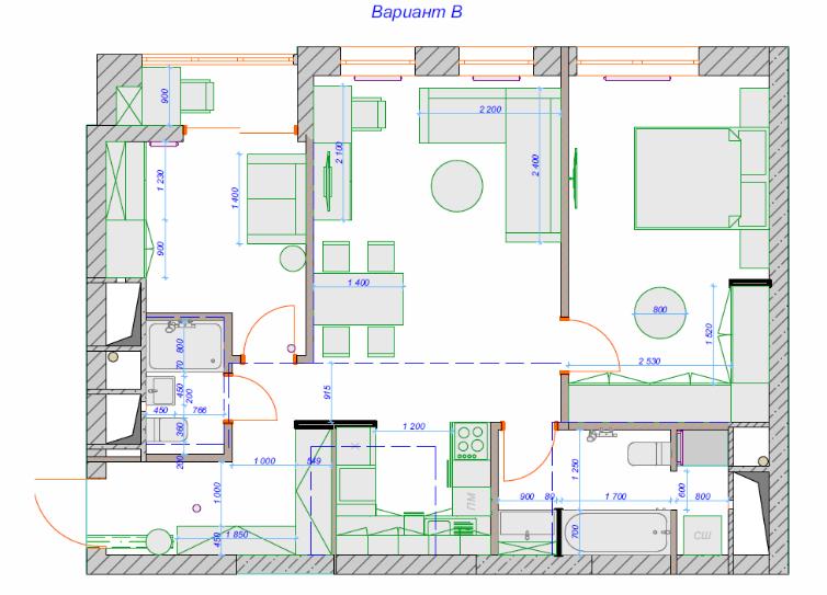 2 к. кв 70м2 - компановка ванной комнаты и кухни ниши-2