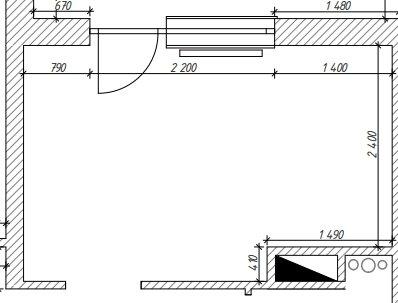 Расстановка мебели на кухне сложной геометрии-6