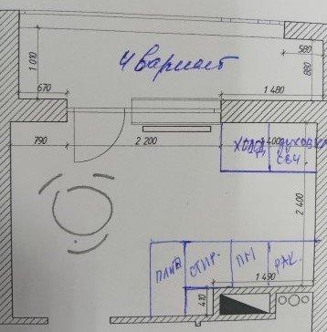 Расстановка мебели на кухне сложной геометрии-4