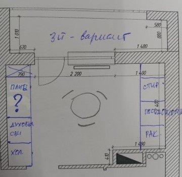 Расстановка мебели на кухне сложной геометрии-3