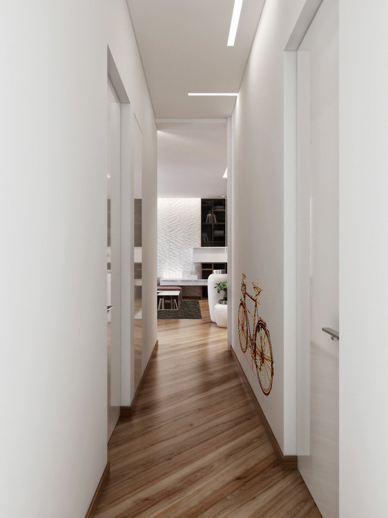 breathtaking-white-interior-corridor-art-with-bicycle-wall-decals-as-well-as-unique-wood-flooring-laminate.jpg