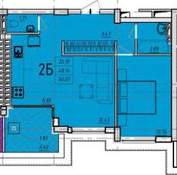 Перепланировка 2 к 51 кв.м. с высокими потолками-2