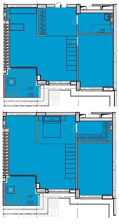 Перепланировка 2 к 51 кв.м. с высокими потолками