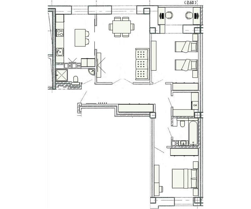 Планировка 3-к квартиры 77,69м2