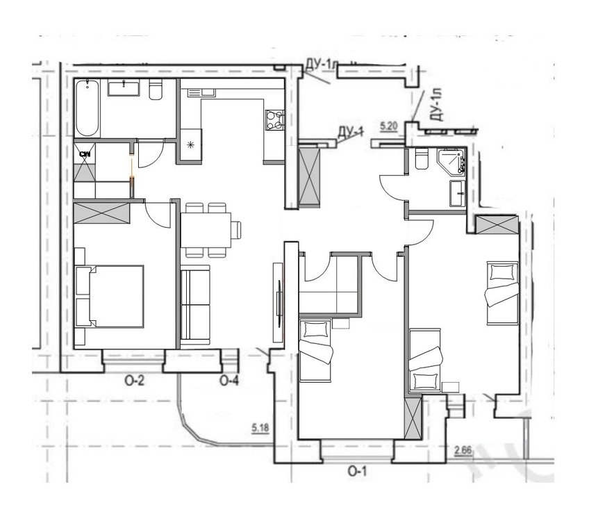 3к квартира 96,67м2 с окнами на одну сторону для многодетной семьи
