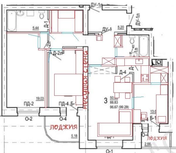3к квартира 96,67м2 с окнами на одну сторону для многодетной семьи-2