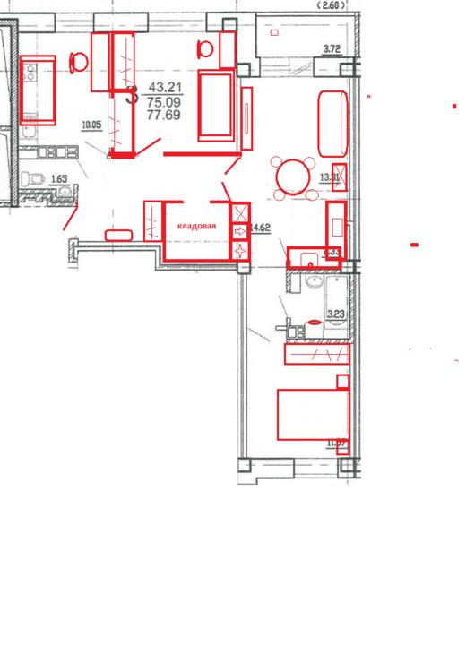 Планировка 3-к квартиры 77,69м2-2