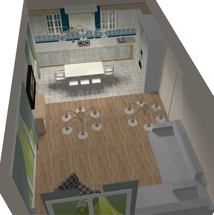 Отделка кухни - гостиной. Обсуждаем мебель, обои, шторы, освещение...