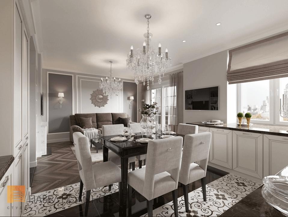Отделка кухни - гостиной. Обсуждаем мебель, обои, шторы, освещение...-2