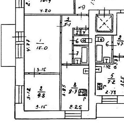 2к кв. с проходной комнатой,вход с кухни