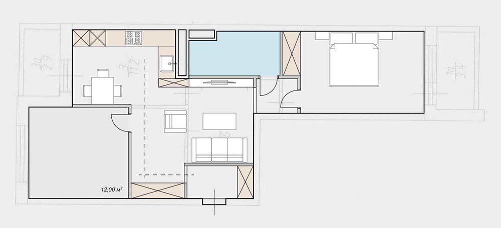 Перепланировка 2-ком. квартиры 62 м2