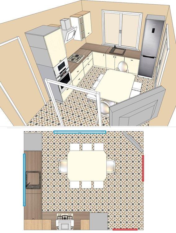 П роходная кухня с 4 проемами на 4 стенах