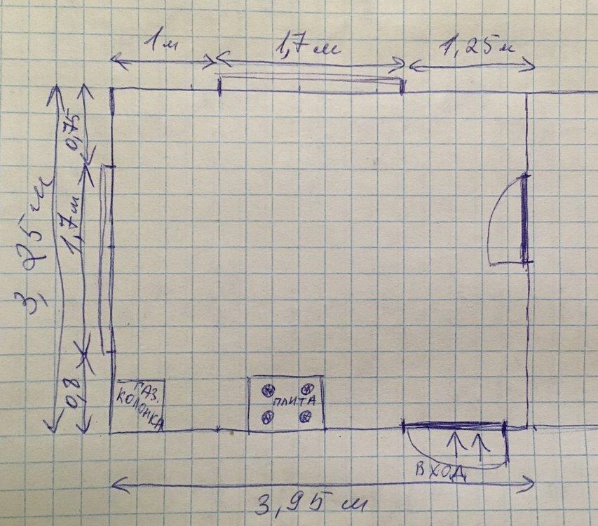 П роходная кухня с 4 проемами на 4 стенах-3