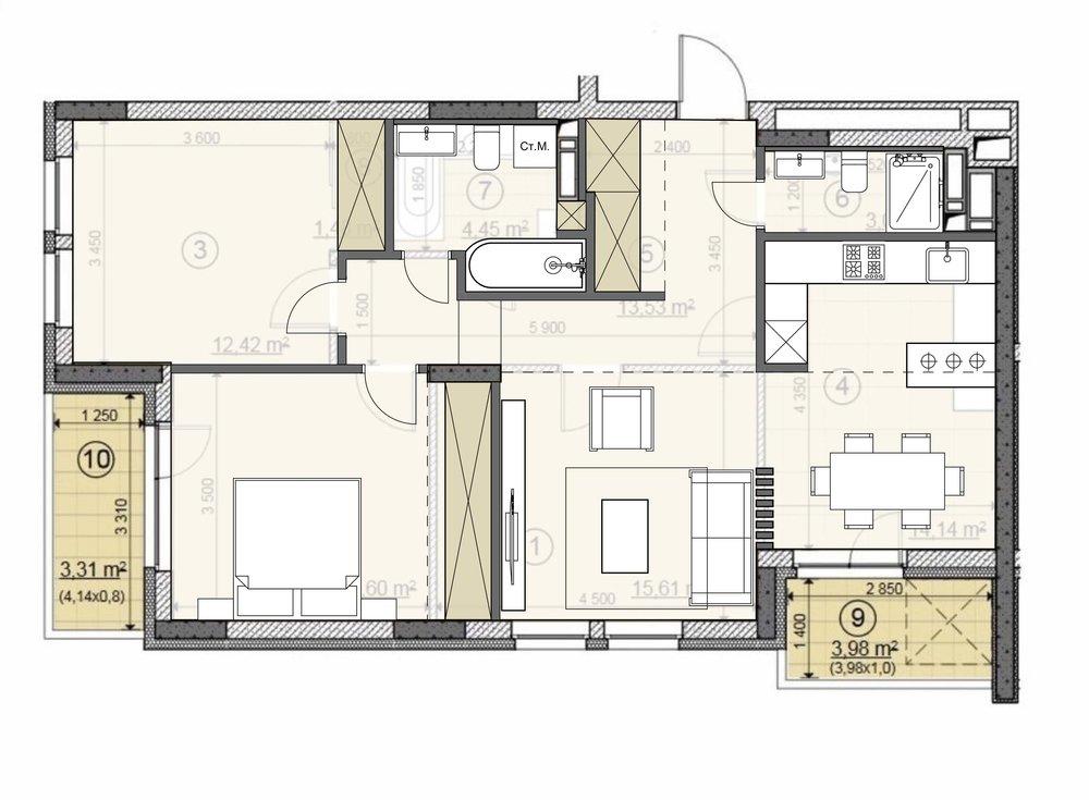 3-х комнатная квартира для семьи