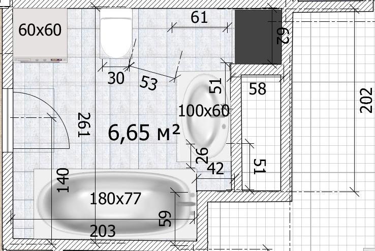 Санузел 6,5 кв.м. с выступами-2