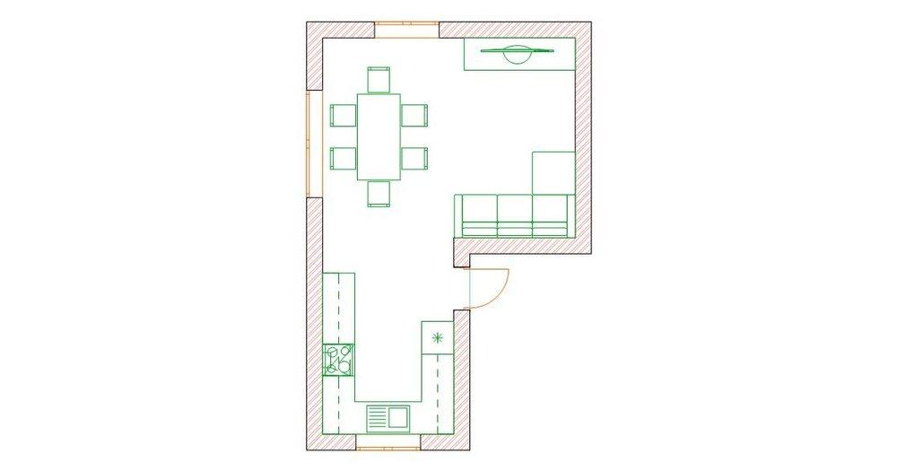 дизайн кухни и расстановка мебели гостинная-2