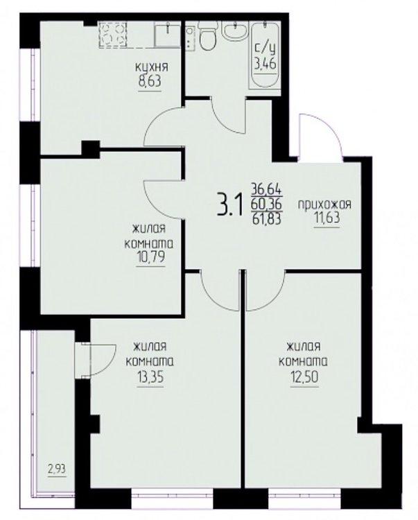 Перепланировка 3-х комнатной квартиры-2