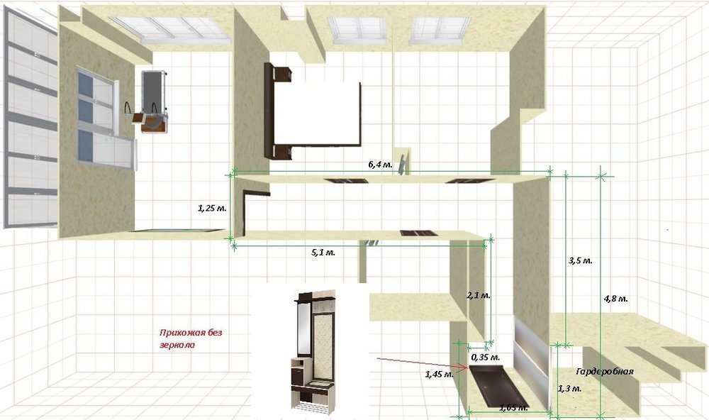 Перепланировка: увеличение площади комнат за счет коридора.