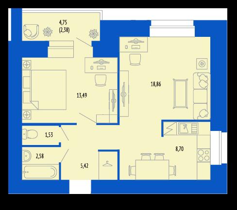 Изолировать комнату и кухню