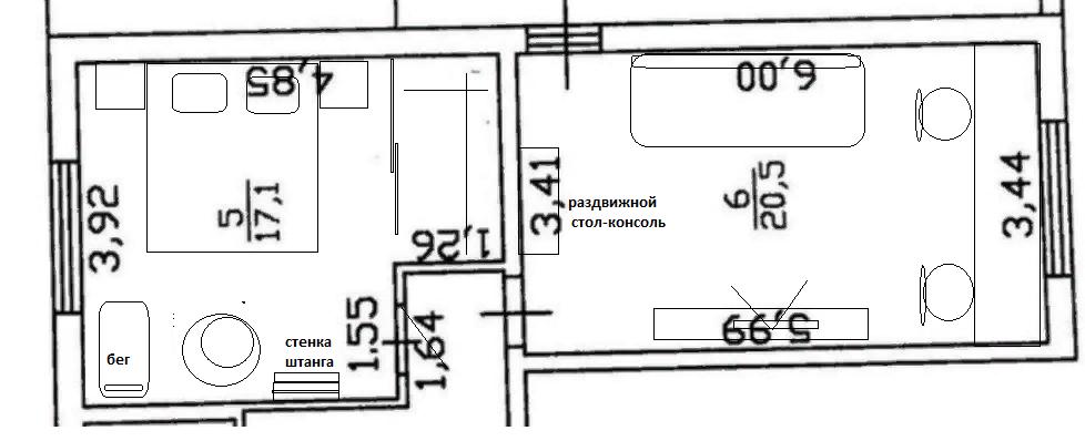 Помогите расставить мебель в 2х комнатах