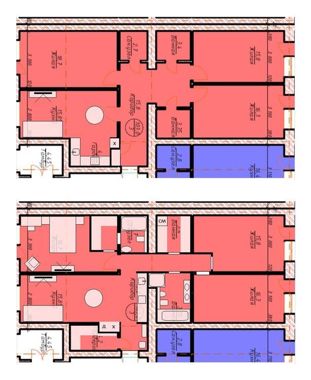 Из 3-х комнатной сделать 4х комнатную