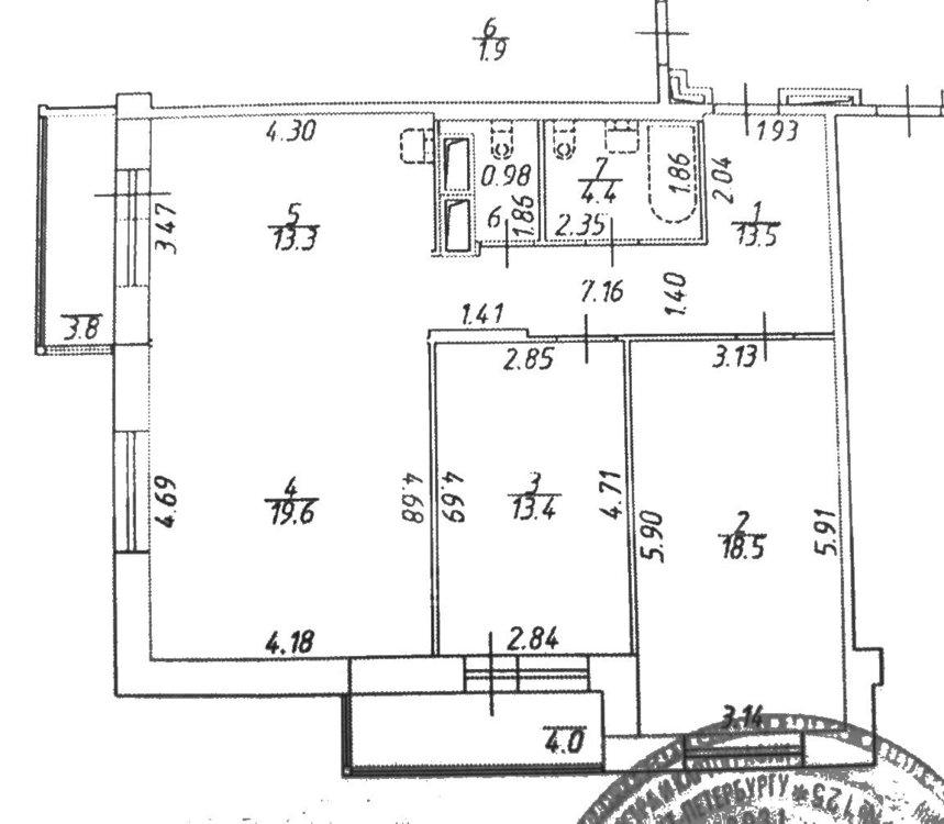 3-к кв. 84м² - кухня-гостиная или кухня+комната-2