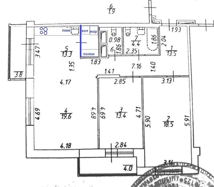 3-к кв. 84м² - кухня-гостиная или кухня+комната