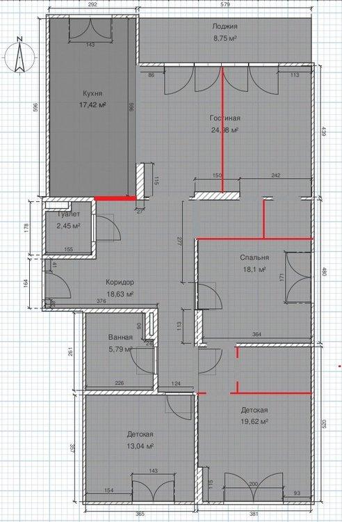 Перепланировка 120 кв.м. для большой семьи (выделяем дополнительную спальню и гардеробные)-2