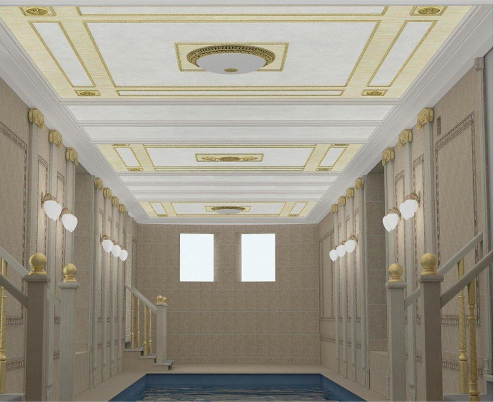 Оформление потолка в помещении бассейна