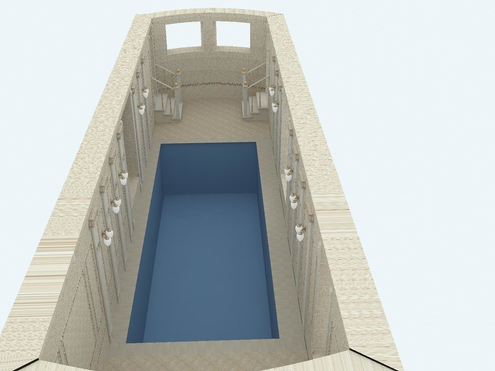 Оформление потолка в помещении бассейна-3