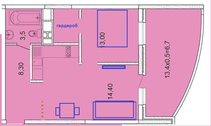 Планировка однокомнатной квартиры с полукруглой лоджией