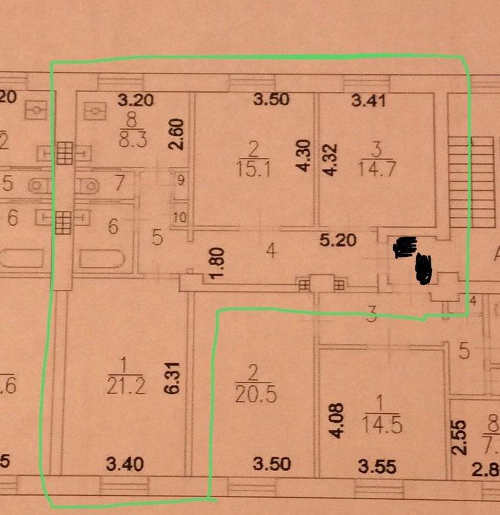 Необходимость в разделении квартиры 77 м2-2