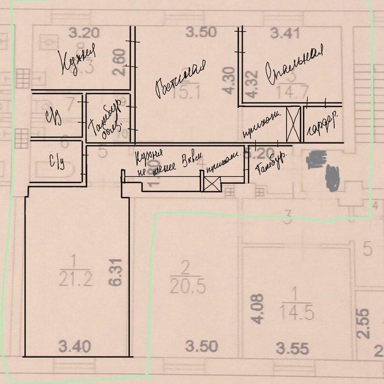 Необходимость в разделении квартиры 77 м2