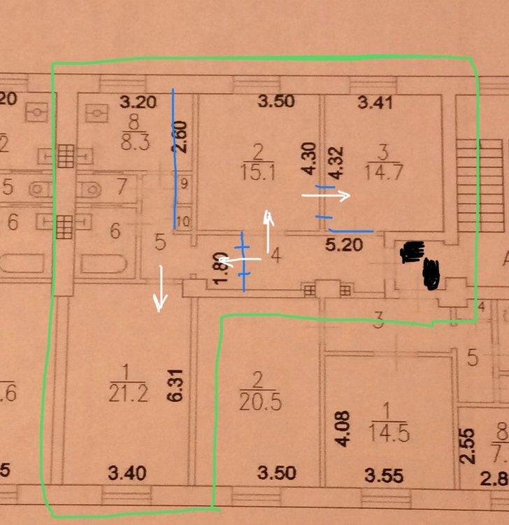 Необходимость в разделении квартиры 77 м2-3