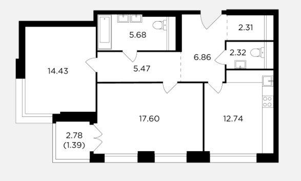 Перепланировка двушки с расширением кухни-гостиной
