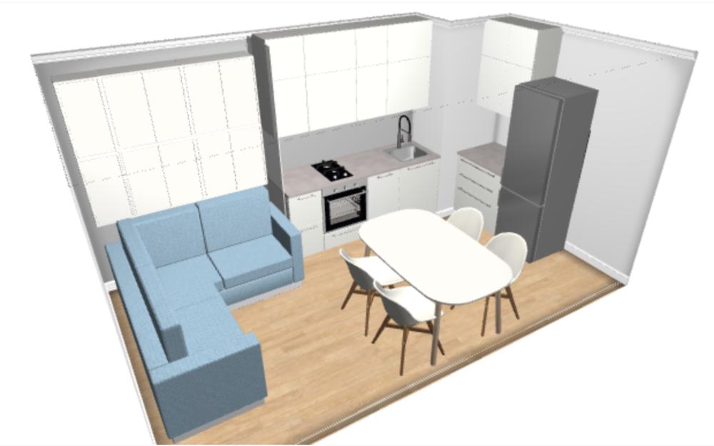 Организация пространства на вытянутой кухне-2